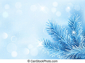 Holiday blue background with tree branches and snowflake...
