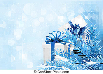 Holiday blue background with gift boxes and tree branches....
