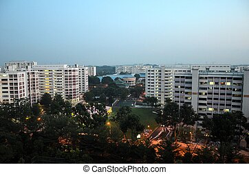 Singapore buildings at dawn - View of Singapore's Jurong...