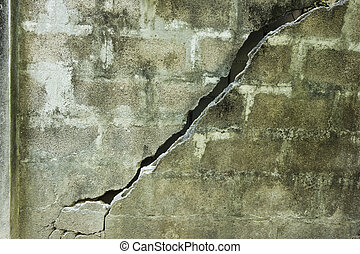 Broken concrete wall with cracks