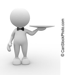 Waiter - 3d people - man, person with a plate. Waiter with...
