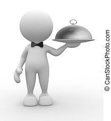Waiter - 3d people - man, person with bow-tie Waiter with...