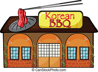 A korean bbq shop - Illustration of a korean bbq shop on a...