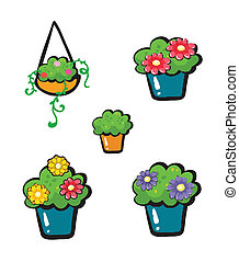 Flowerpots - Illustration of flowerpots on a white...