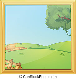 A beautiful landscape photo frame - Illustration of a...