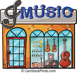 A music store - Illustration of a music store on a white...
