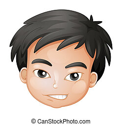 A face of a boy - Illustration of a face of a boy on a white...