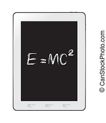 physical formula on tablet - The abstract of Albert...
