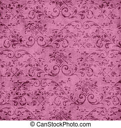 Pink Floral Tapestry Pattern - Worn pink floral tapestry...