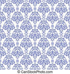 Blue & White Damask - Seamless damask pattern in medium...