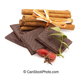 chocolate, cinnamon on a white background