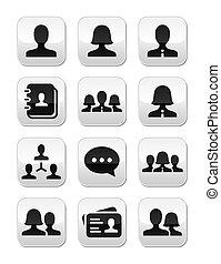 Man woman user vector buttons set - Modern grey glossy...