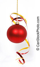 Hanging red glass ball with the ribbons on the white background