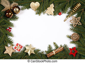 Decorative Christmas bordering the white background