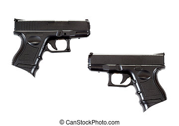two Black airsoft guns - Black airsoft guns isolated on...