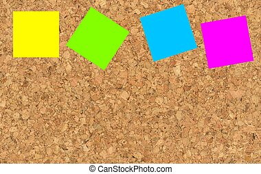 sticky notes on a corkboard