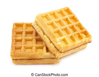 wafer biscuits on white background
