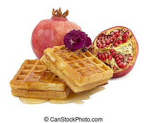 pomegranate, violet, waffle on a white background