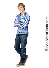 Handsome Young Man Full Length Portrait - Full length...