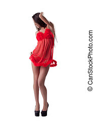 Sexy young girl posing in red peignoir isolated