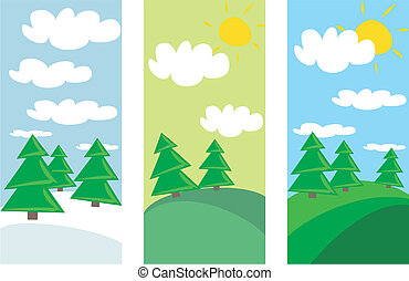 vector winter and summer landscape
