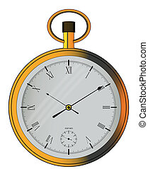 Pocket Watch - An old fashioned fob style, gold pocket watch