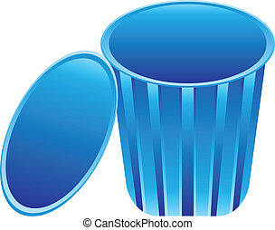 abstract blue trash icon