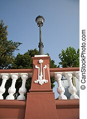 street lamp on balustrade at icod city tenerife spain