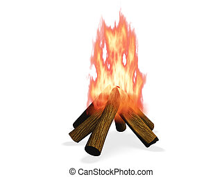 3D wood fire illustration