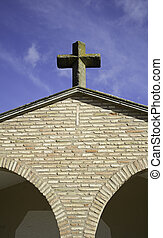 Religious Cross - Religious cross on village church, and...