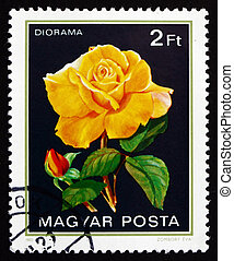 Postage stamp Hungary 1982 Diorama, Rose Flower - HUNGARY -...