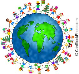 global Christmas kids - group of diverse children...