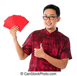 Thumb up Asian Chinese man showing many red packets ang pow...