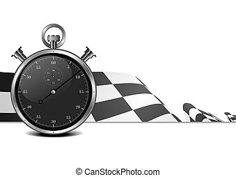 racing flag with stop watch - detailed illustration of a...
