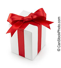 White Gift Box with Red Ribbon Bow isolated on white...