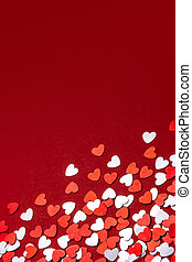 Valentines day background - Red and white hearts confetti