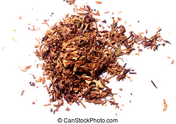 shredded tobacco - shredded cigarette tobacco on white...