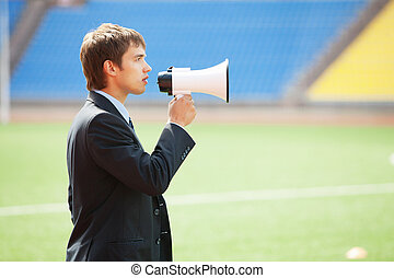 Business Announcement Through Loudspeaker 2 - Businessman in...