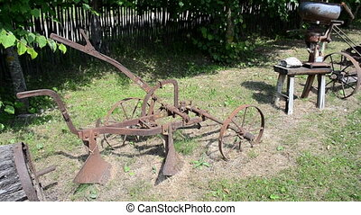 retro agriculture tools - walk near retro old agriculture...