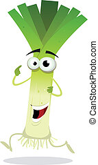 Cartoon Happy Leek Character - Illustration of a funny happy...
