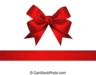 Red bow and ribbon isolated on white background. Closeup...
