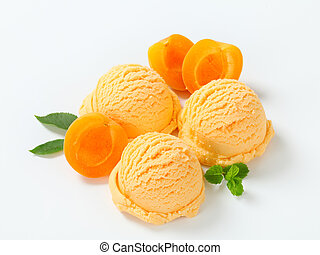 Apricot ice cream - Scoops of apricot ice cream