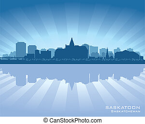Saskatoon, Canada skyline with reflection in water