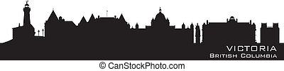 Victoria, Canada skyline. Detailed silhouette. Vector...