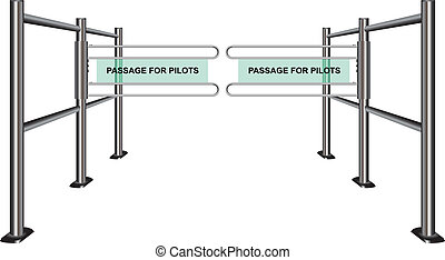 Turnstile at the airport Passage for the pilots Vector...