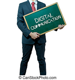 Business man holding board on the background, Digital Communication
