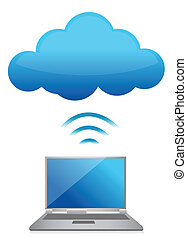 modern laptop send files to cloud server illustration design