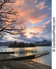 Sunset on Derwentwater at the landing stage near to Keswick