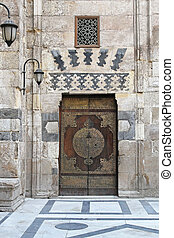 Mosque door - Medieval door entrance in Mosque at Khan el...