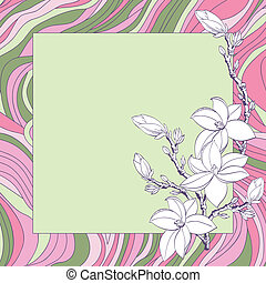 Greeting card with pink magnolia flowers